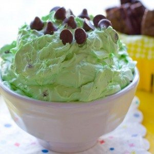 Mint Chocolate Chip cheesecake Dip in a bowl