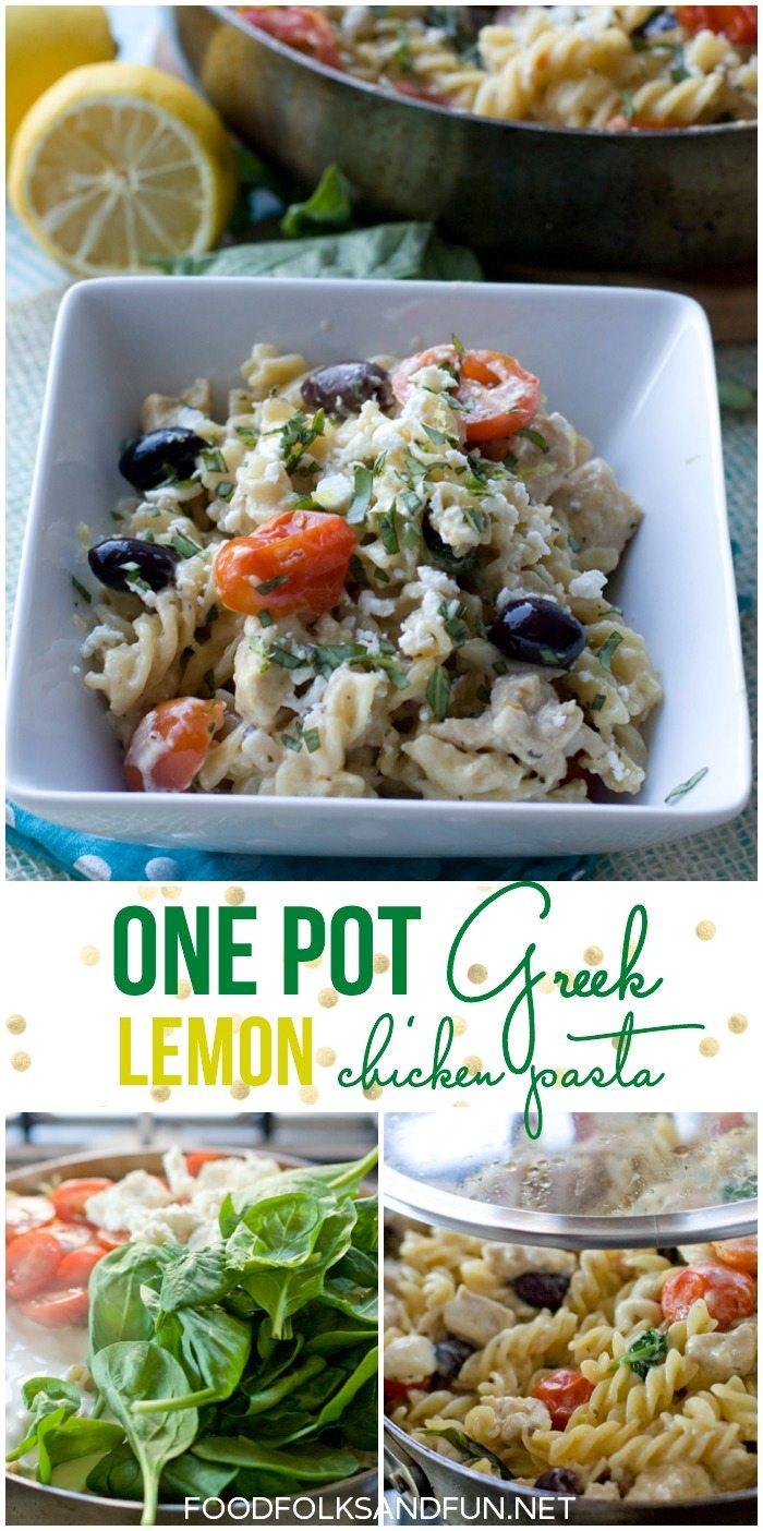 One Pot Greek Lemon Chicken Pasta recipe