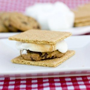 Smores Chocolate Chip Cookie on a plate