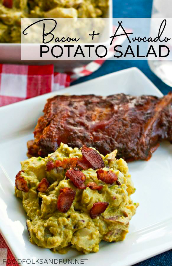 Bacon and Avocado Potato Salad Recipe is a new take on potato salad. Ditch the mayo and replace it with avocado, and then top with lots of crispy bacon! via @foodfolksandfun