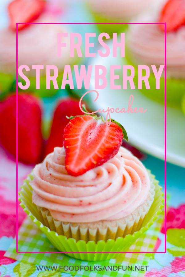 Lots of fresh strawberries get packed into this from-scratch Fresh Strawberry Cupcakes Recipe with luscious strawberry cream cheese frosting. via @foodfolksandfun