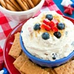 Fruit Spangled Cheesecake Dip with graham crackers for dipping
