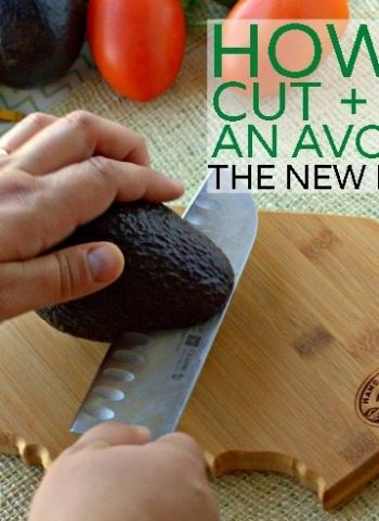 Using a chef's knife to cut an avocado on a cutting board with text overlay for Pinterest