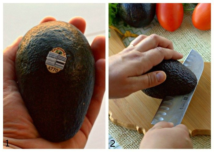 A collage of process shots for cutting avocados