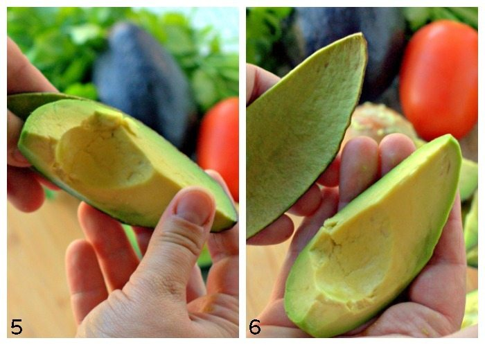 Collage for steps to cutting an avocado