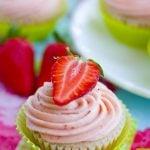 A close up of a Strawberry Cupcake