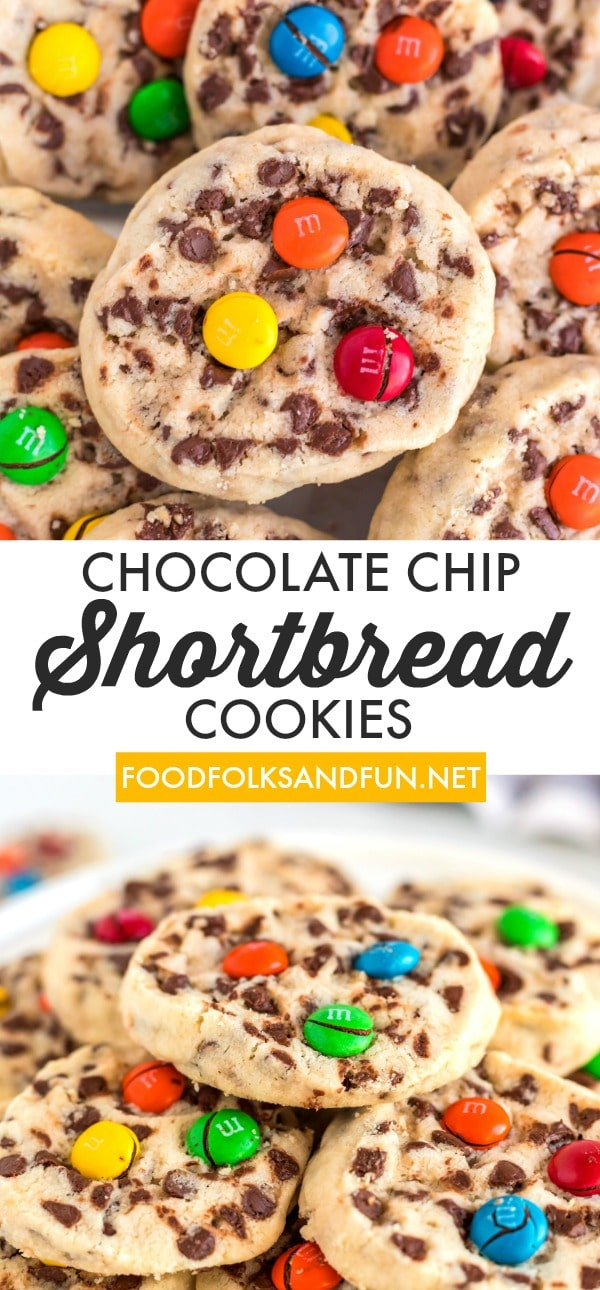Chocolate Chip Shortbread Cookies with M&Ms are buttery and so delicious! They can be made at any time of the year or customized for holidays. via @foodfolksandfun