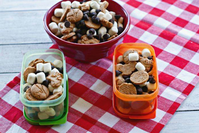 S\'mores Snack Mixes in Tupperware containers for on the go