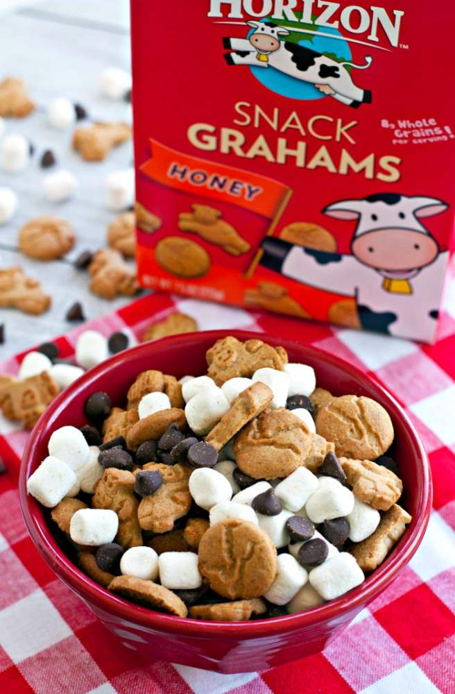 Easy S\'mores Snack Mix with Horizon Snack Grahams in the background