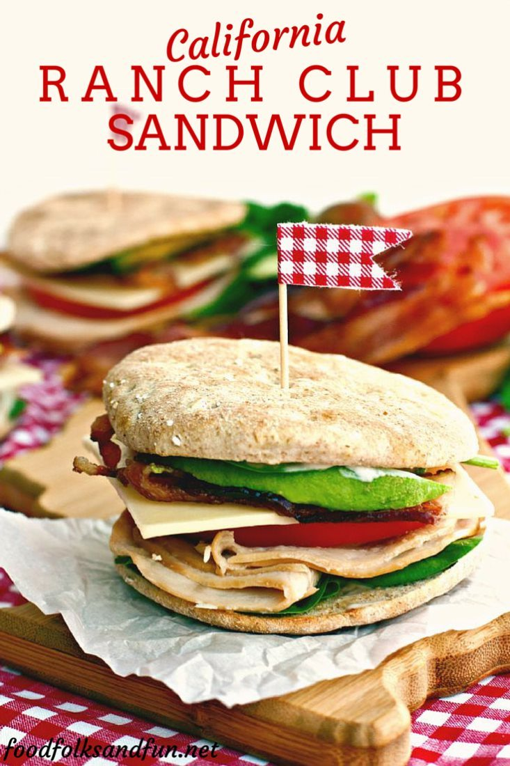 California Ranch Club Sandwich with text overlay for Pinterest