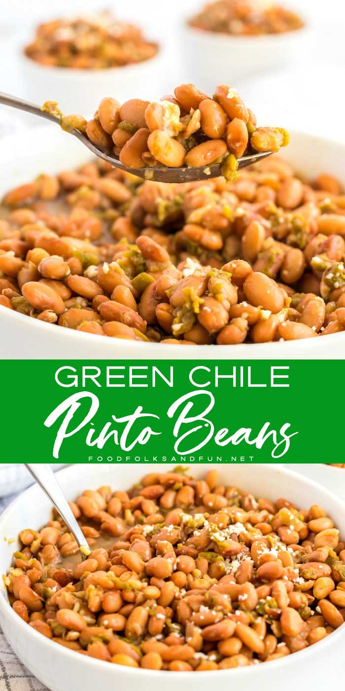 This Crock Pot Green Chile Pinto Beans Recipe is my all-time favorite pinto beans recipe for stuffing into burritos. These pinto beans are easy to make and so tasty! via @foodfolksandfun