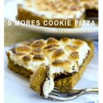 Easy S'mores Cookie pizza on a plate with text overlay for Pinterest