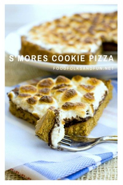 S\'mores Cookie Pizza on a plate with text overlay for Pinterest