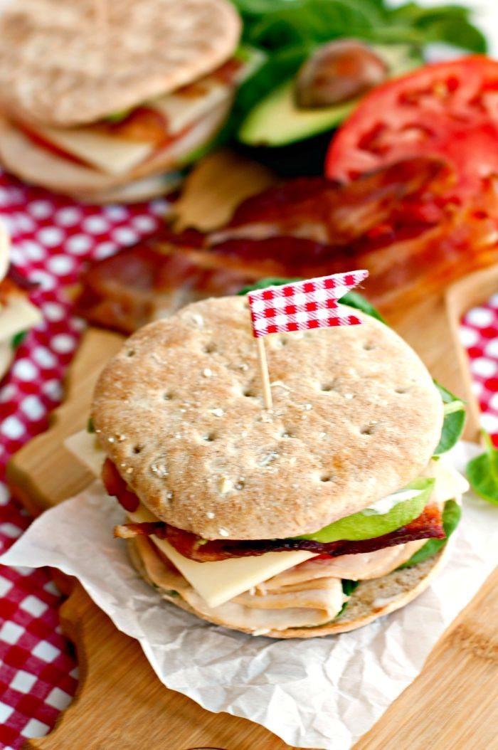 Ranch Club Sandwich on a cutting board