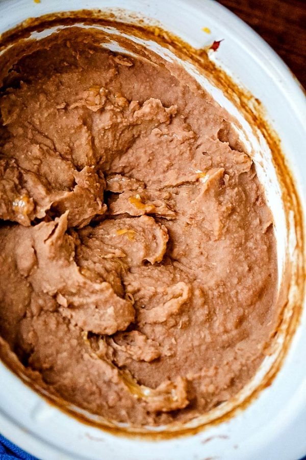 An overhead picture of the refried beans right after they we're blended with an immersion blender.