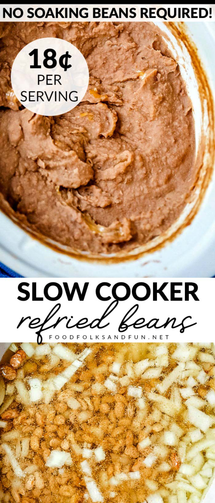 This Restaurant Style Refried Beans recipe is made in a slow cooker and no bean soaking is required! This recipe serves 12 and costs $2.13 to make. That's just 18¢ per serving! via @foodfolksandfun