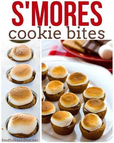Easy S\'mores Cookie Bites with text overlay for Pinterest