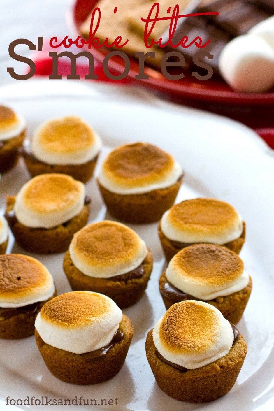 S\'mores cookie bites on a serving platter with text overlay for social media