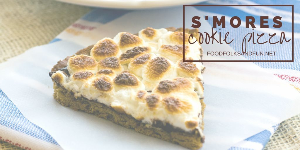 Easy S\'mores cookie pizza on a plate with text overlay for Pinterest