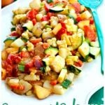 Summer's Best Potato Salad in a large serving bowl with text overlay for Pinterest