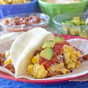 A close-up of breakfast tacos on a plate for a Breakfast Taco Bar