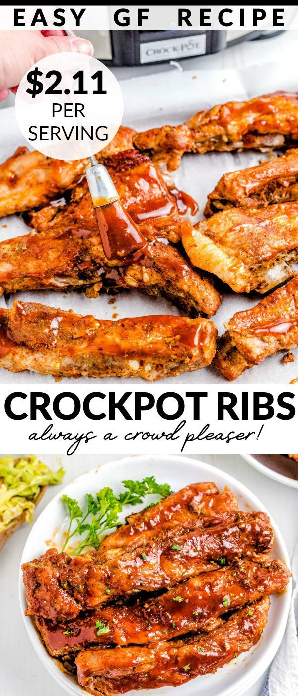 These Crockpot Spare Ribs are melt-in-your-mouth tender and so tasty! This is an easy, no-fuss recipe where the slow cooker does all the work. via @foodfolksandfun