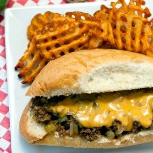 These Philly Cheesesteak Sloppy Joes are serious comfort food. They make a great weeknight meal or tasty game day snacks. Plus, you can make this recipe in just 20 minutes! That means you'll be spending less time in the kitchen and more time routing for your favorite team or spending time with family!
