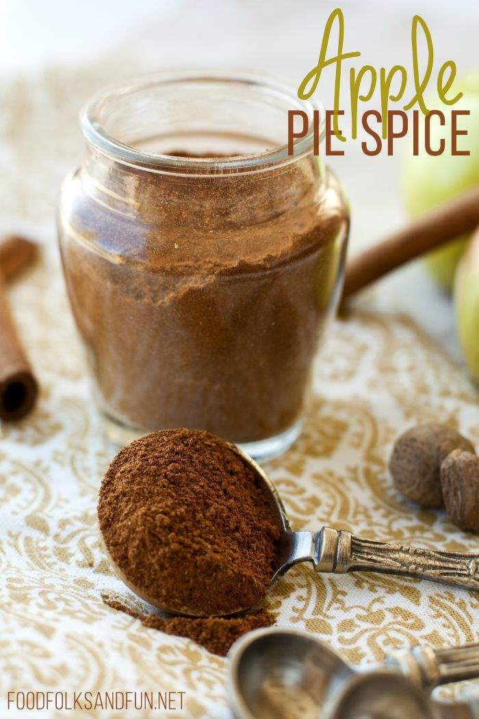 Apple Pie Spice in a glass jar with text overlay for Pinterest