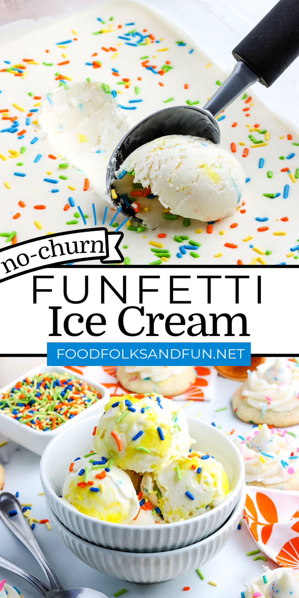 This No Churn Birthday Cake Ice Cream is an easy Funfetti Ice Cream that is a no-churn recipe that anyone can make at home. Make it for birthdays or just because! via @foodfolksandfun