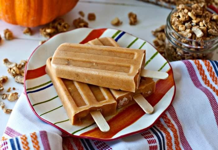 Pumpkin Parfait Breakfast Popsicles on a plate