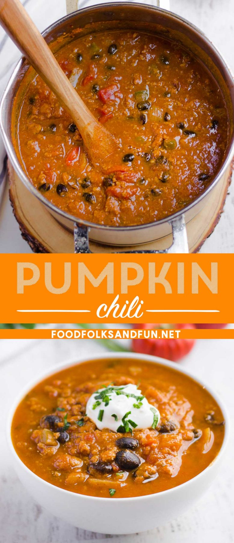Pumpkin Chili is the ultimate fall dish; it's hearty, comforting, and has just a touch of delicious pumpkin flavor.