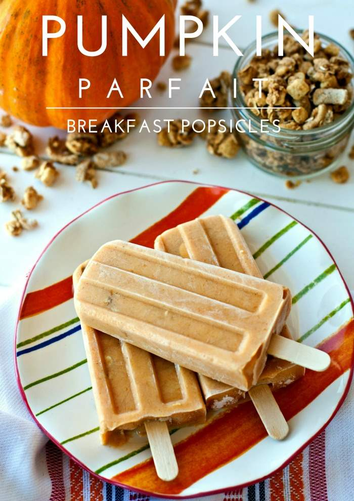 Pumpkin parfait breakfast popsicles with text overlay for pinterest