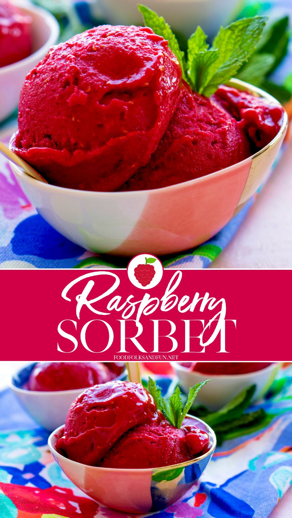 Homemade Raspberry Sorbet is only minutes away! All you need are just 4 ingredients to make a perfect light summer treat! #fruit #fruitdessert #raspberry #raspberryrecipe #dessert #summer #summerdessert #foodfolksandfun via @foodfolksandfun
