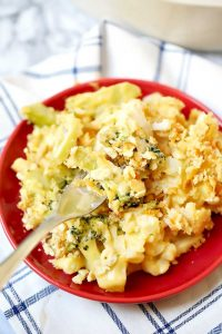 This Broccoli Cauliflower Casserole is cheesy and oh so delicious!