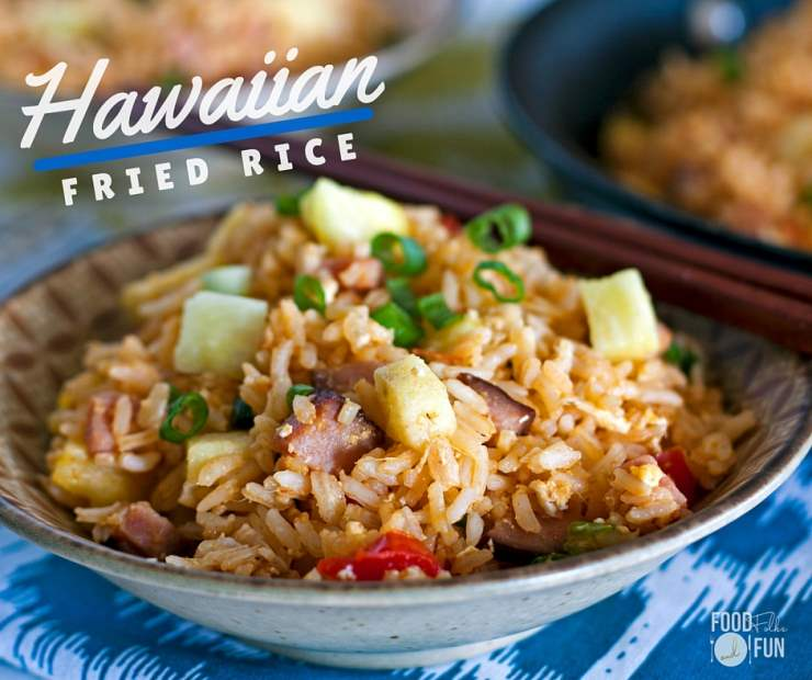 Fried rice in a bowl with ham and pineapple.