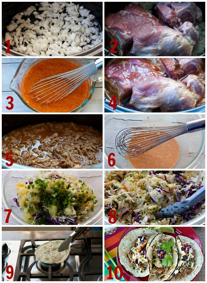 Step-by-step pictures for how to make pork tacos.