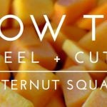 Butternut squash pieces with text overlay for social media