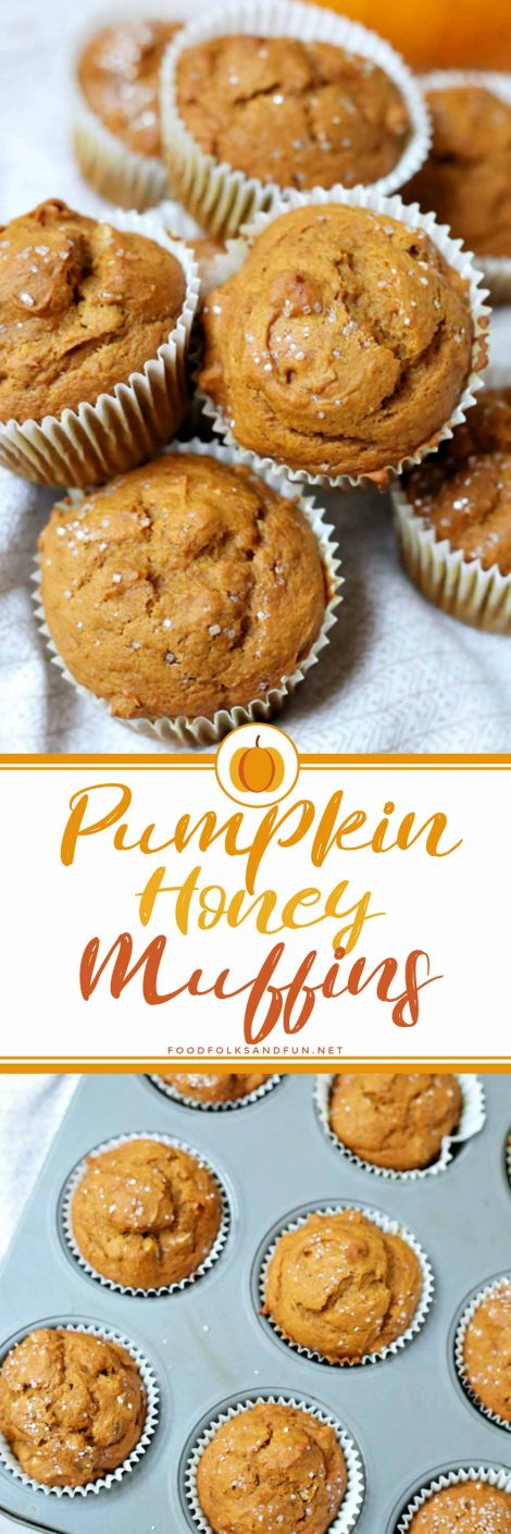 Picture collage of pumpkin honey muffins.