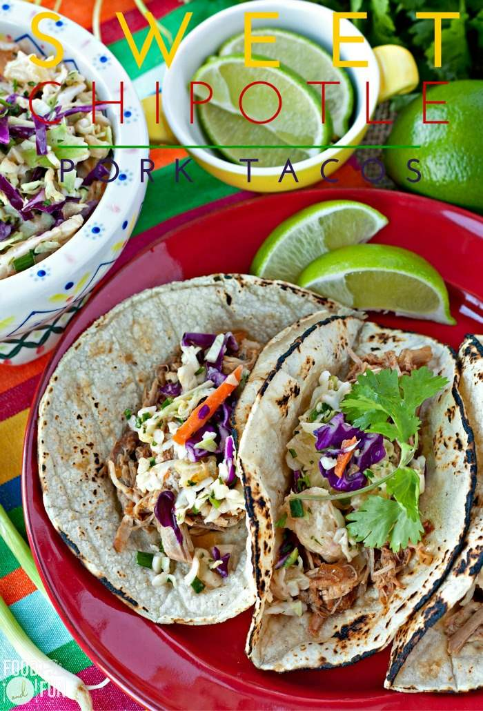 This Sweet Chipotle Pork Tacos recipe is an easy slow cooker recipe that is flavorful and a real crowd-pleaser! via @foodfolksandfun