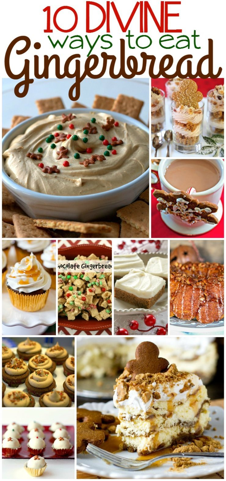 If the Fall has pumpkin pie-spiced everything then the Christmas season has GINGERBREAD! Today I'm sharing my favorite holiday treat in this roundup of 10 Divine Ways to Eat Gingerbread!