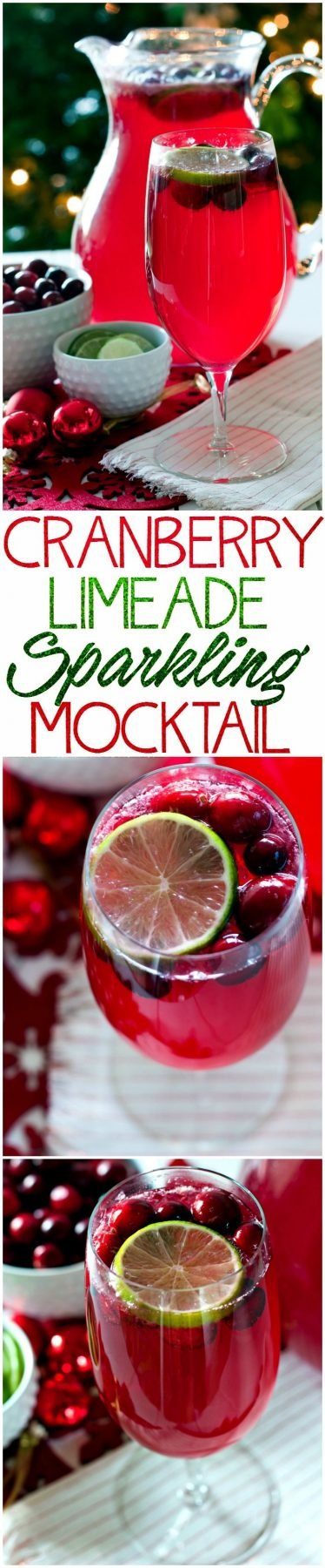 Make this Cranberry Limeade Sparkling Mocktail for your next holiday party. It's to perfect festive mocktail for Christmas and New Year's!