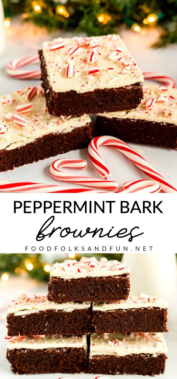 These Peppermint Bark Brownies are a cool and refreshing holiday dessert for your party, potluck, or holiday table. via @foodfolksandfun
