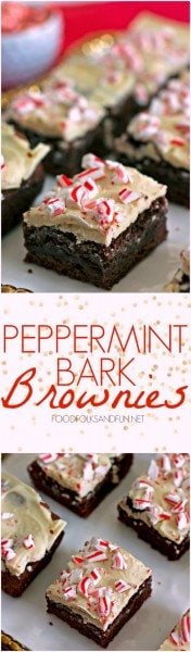Picture collage of peppermint bark brownies.