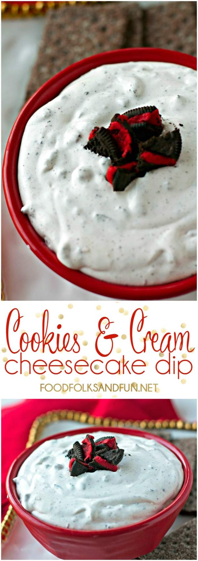 Picture collage of this cheesecake dip.