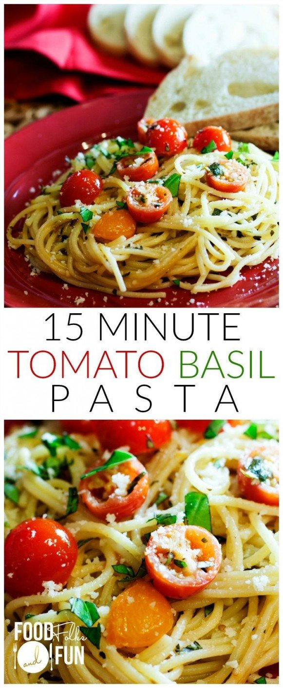 2 pictures of tomato basil pasta made into a collage.