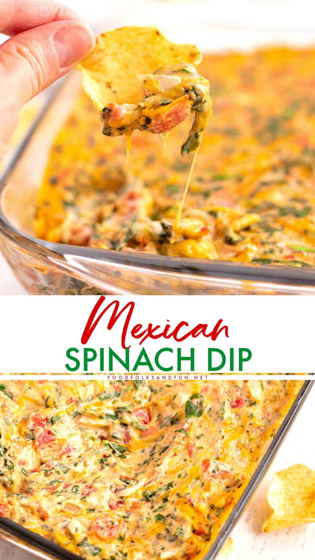 If you love spinach dip and Mexican food then you'll LOVE my Mexican Spinach Dip recipe! It's a tasty party, holiday, tailgating, and Super Bowl recipe! via @foodfolksandfun