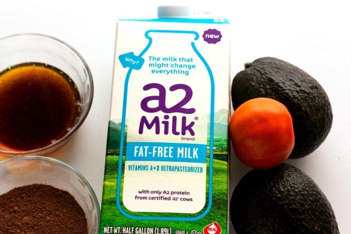 A carton of milk for making chocolate avocado pudding