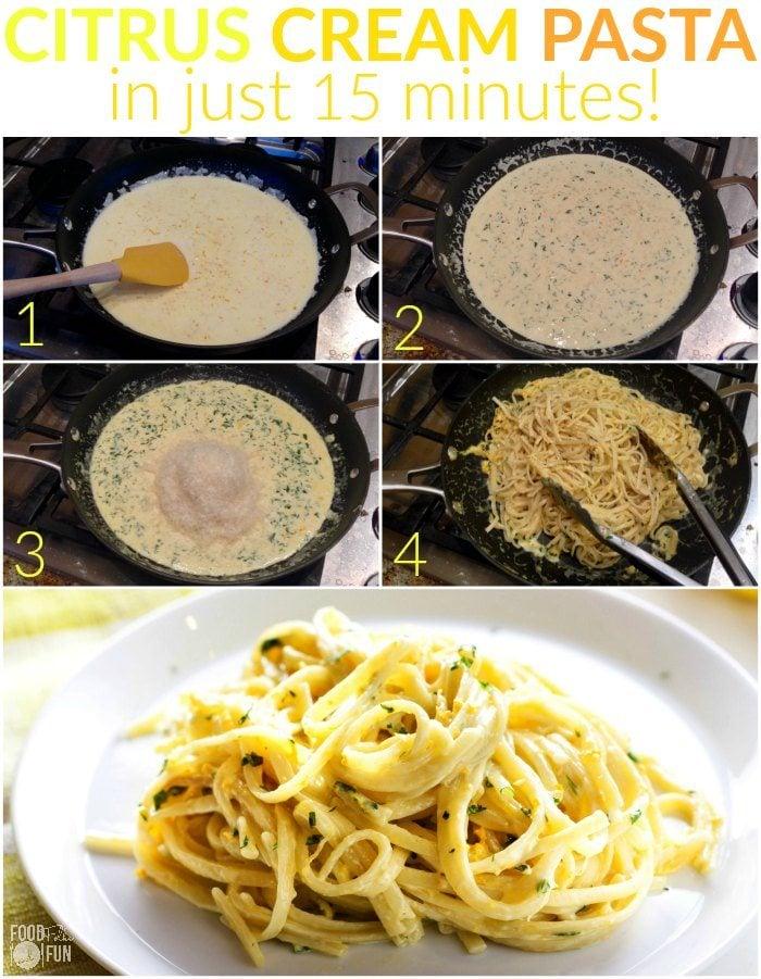 Picture collage of how to make citrus cream pasta.