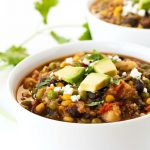 A bowl of Southwest Quinoa Stew in a bowl