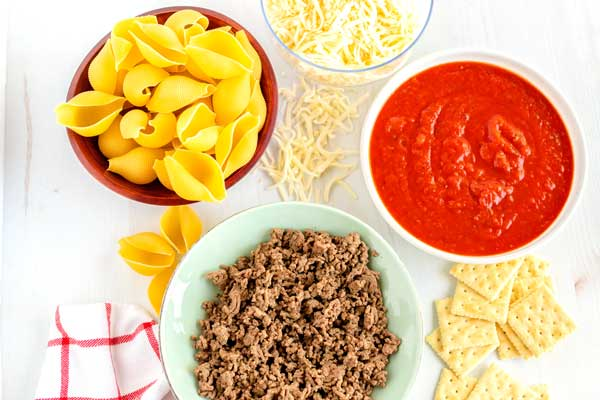 All of the ingredients needed to make this stuffed shells recipe.